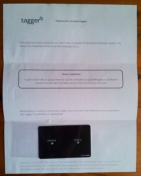 Review Tagger NFC Physical Bitcoin Wallet